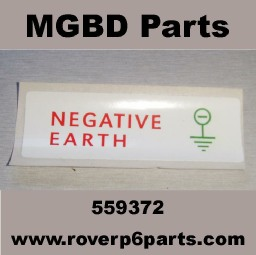 Negative Earth Label for the battery box and under the bonnet